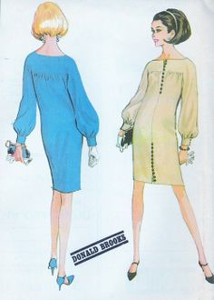 FAB Donald Brooks Slim Dress Pattern McCALLS 8540 New York Designers Collection Shift Style, Bateau Neckline, Lovely Full Sleeves Button Detail Bust 36 Vintage Sewing Pattern-Authentic vintage sewing patterns: This is a fabulous original dress 1950s Fashion Women, Retro Fashion, Vintage Fashion, Vogue Dress Patterns, Dress Making Patterns, Vintage Dresses 1960s, Vintage Outfits, Vintage Sewing Patterns, Clothing Patterns