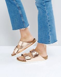 Birkenstock Arizona Metallic Copper Leather Flat Sandals woman fashion and female style