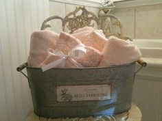 love this..have the towels , have the galvanized bucket..just need a cute vanity chair..... French Country Style, French Country Decorating, French Country Cottage, Cottage Style, Cottage Living, Farmhouse Style, Country Bathrooms, Chic Bathrooms, Vintage Bathrooms