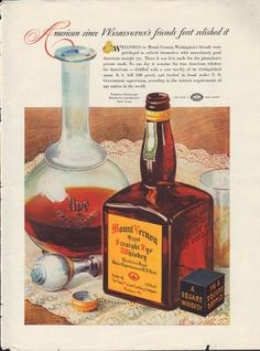 1937 Mount Vernon Rye Whiskey ad - National Distiller's Maryland