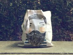 """Tote bag with original illustration by Depeapa. Limited edition.  Bearded is hand-printed on 100% cotton tote bag. 140gr/m2.  Size:37cmW x 41cmH (14.4"""" x16"""")"""