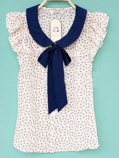 Floral print ruffle cap sleeve blouse with blue collar and bow- So love the style! ~