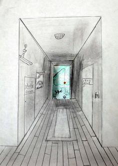 one point perspective with surrealist doors. Cool!