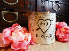 Wedding Decor, Personalized Birch Candle Holder with Custom Initials and Wedding Date, Outdoor Rustic Shabby Chic Wedding by TheCreativeQ