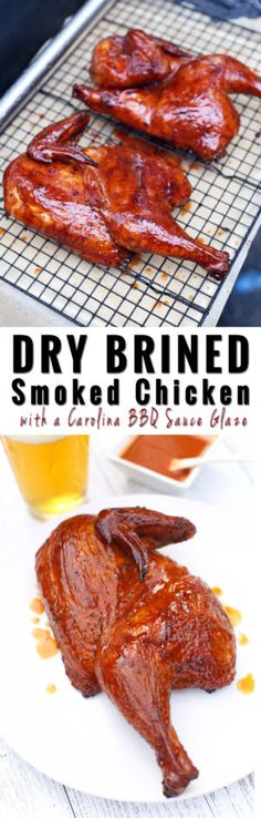 Dry Brined Smoked Chicken with a Carolina BBQ Glazed.) and this is am amazing chicken recipe to try out for Memorial Day BBQ's or any time this summer! So delicious! Carne Asada, Grilling Recipes, Meat Recipes, Carolina Bbq Sauce, Barbecue, Food Safety Tips, Smoker Cooking, Smoking Recipes, Bbq Chicken
