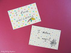 Set of two quote and drawing postcards by DailyArtbyAngelina