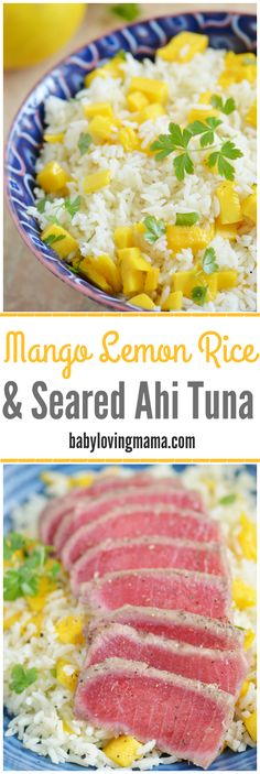 Mango Lemon Rice and Seared Ahi Tuna: Give this quick and easy fish with rice meal a try! Bumble Bee SuperFresh® [ad] Mango Lemon Rice and Seared Ahi Tuna: Give this quick and easy fish with rice meal a try! Tuna Recipes, Rice Recipes, Seafood Recipes, Cooking Recipes, Healthy Recipes, Recipies, Seafood Meals, Junk Food, High Calorie Diet