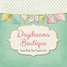 Bunting Shop Banners, Icon Avatars, Business Card, Logo Label + More - Ready Made Etsy Store Graphics, 13 Premade Files - DAYDREAMS BOUTIQUE