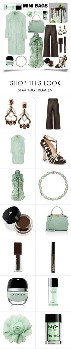 """Mini Bags - Mint Chocolate Chic"" by sarina-noel ❤ liked on Polyvore featuring LE VIAN, ADAM, Miu Miu, Gucci, L'Wren Scott, Honora, Lancôme, Fendi, NYX and Marc Jacobs"