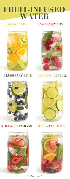 Infused Water Recipes, Fruit Infused Water, Infused Waters, Water Infusion Recipes, Fruit Water Recipes, Water With Fruit, Water Detox Recipes, Detox Fruit Water, Cucumber Recipes