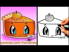▶ How to Draw Thanksgiving Things - Cute Pumpkin Pie - Fun2draw Food - YouTube