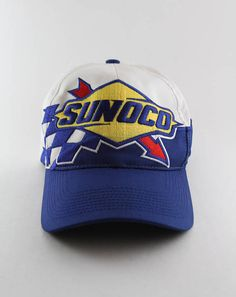 02153c995b761 Vintage Sunoco Racing Baseball Cap    Sunoco Large Logo Blue and White Snapback  Hat    Gas Station Cap