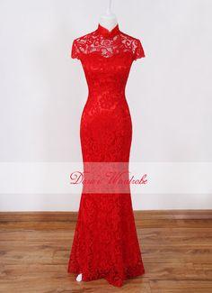 Red Lace Chinese Wedding Dress,Mandarin Collar long evening dress,long Cheongsam