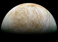 This gibbous phase shows part of Jupiter's moon Europa. The robot spacecraft Galileo captured this image mosaic during its mission orbiting Jupiter from 1995 - - Image Credit: Galileo Project, JPL, NASA; reprocessed by Ted Stryk Jupiter's Moon Europa, Jupiter Moons, Sistema Solar, Cosmos, Galileo Spacecraft, Tectonique Des Plaques, Deep Space, Interstellar, Stars