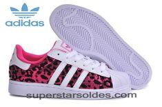 finest selection a8f03 503c5 Qualité Garantie Adidas Superstar Femme Leopard Rose Noir Blanc