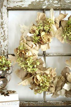Burlap, Canvas and Hydrangeas Wreath