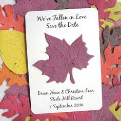 120 Save the Date Cards Fall Leaf Seed Paper by recycledideas