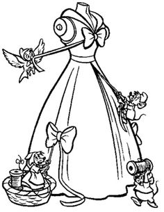 The Mice Help Cinderella To Make Her Gown Coloring Page