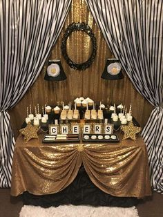 New Year's Eve Decorations Black and white stripes with gold sparkle dinner party! See more party planning ideas at CatchMyParty.com!