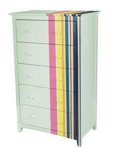 Stripe all the way around it | 99 Clever Ways To Transform A Boring Dresser