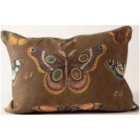 Natural History Butterflies on Brown Linen Pillow