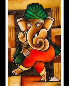 No photo description available. Ganesha Drawing, Lord Ganesha Paintings, Ganesha Art, Krishna Art, Durga Maa Paintings, Ganesha Rangoli, Krishna Tattoo, Durga Painting, Kerala Mural Painting