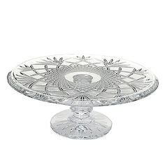 "453-302- Waterford Crystal Sullivan 12.5"" Wedge & Diamond Cut Footed Cake Plate"