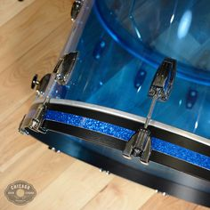 Brand new Ludwig blue acrylic Vistalite Kit in sizes 14x10, 18x16, and 24x14. Large lugs on all drums, and heavy duty Elite spurs on the bass drum. No mount on the rack tom. These drums have an incred