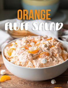 Mandarin Orange Jello Salad, Orange Jello Salads, Mandarin Oranges, Fluff Desserts, Easy Desserts, Mini Marshmallows, Marshmallow Salad, Orange Fluff, Creamy Peas