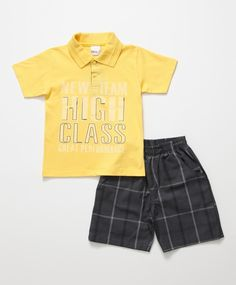 Conjunto Baby de 2 pçs Amarelo e Cinza