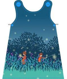 Materialen:  * Stof -  Michael Miller, Summer night lights  ( jurkje )   112 cm bij 46 cm ( maat 56 t...