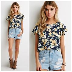 Watercolor Floral Flutter Sleeve Top Never worn; just washed. All over floral print on front and back. Boxy fit. Crop top style. Has flutter sleeves. Color of top is navy. ❌No trades and no PayPal. Forever 21 Tops