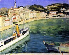 """Puerto de Menton"", óleo sobre lienzo de Albert Marquet (1875-1947, France)"