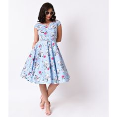 Hell Bunny 1950s Style Pale Blue Floral Cap Sleeve Belinda Swing Dress... (1,665 MXN) ❤ liked on Polyvore featuring dresses, floral swing dress, vintage floral dress, trapeze dress, white cap sleeve dress and white floral dress