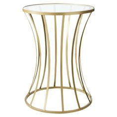 Again, I need to see it in person - love or hate?  Metal and Glass Accent Table - Gold