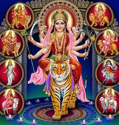 Maa Durga in Her nine forms - Makes us Fearless. Maa Image, Maa Durga Image, Durga Kali, Shiva Shakti, Durga Goddess, Kali Mata, Durga Puja, Durga Images, Lakshmi Images