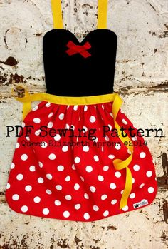 MINNIE MOUSE Disney Junior Jr. inspired Child Costume Apron Pdf Sewing PATTERN. Girls sizes 2-8 Dress up Play prop Disneyland Birthday Party