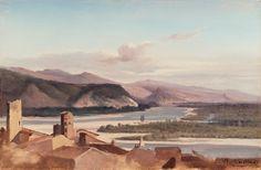 Alexandre Dubuisson (1805–1870) Tribune de l'Art Vue de la vallée du Rhône Huile sur papier sur toile - 20,3 x 30,5 cm