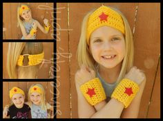 Crochet Wonder Woman Crown and Cuff Set by SincerelyApril on Etsy, $20.00