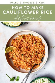 Fresh or Frozen Cauliflower Rice tastes amazing with these key ingredients for the best flavor and texture. It's Paleo, low-carb, AIP, and naturally gluten-free. How To Make Cauliflower, Frozen Cauliflower Rice, Paleo Meal Prep, Paleo Diet, Dairy Free Recipes, Paleo Recipes, Gluten Free, Side Recipes, Whole 30 Recipes