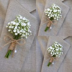 Rustic Boutonniere Baby's Breath Boutonnieres mens