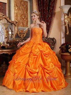 9b54bbe8e2 Buy luxurious orange ball gown strapless quinceanera dresses with pick ups  from orange quinceanera dresses collection