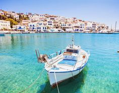 Beautiful view at Batsi village, Andros island, Cyclades, Greece Greek Islands To Visit, Best Greek Islands, Greece Islands, Catamaran, Mykonos, Beautiful Islands, Beautiful Beaches, Andros Greece, Santorini Greece