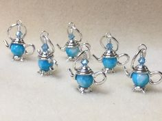 Frog Stitch Markers | Snag Free Little Blue Teapot Stitch Markers- Gift for Knitters
