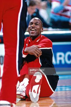 Michael Jordan #23 of the Chicago Bulls smiles prior to a game against the Sacramento Kings played on November 14, 1989 at the Arco Arena in Sacramento, California.