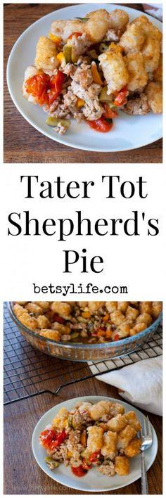 Tater Tot Shepherds Pie. A fun twist on classic comfort food | Betsylife.com