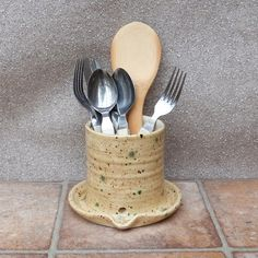 Utensil and cutlery drainer ....toothbrush holder ....hand thrown pottery