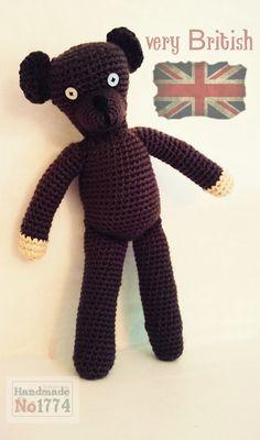 Kuscheltier - Teddy - Bär - Mr.Bean - Mr.Beans Teddy - Gehäkelt - Crochet - braun