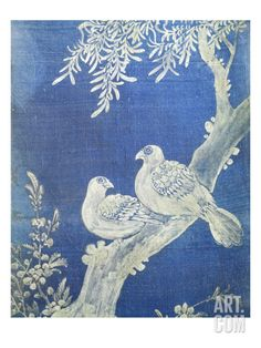 Two Doves on a Bough, from 10 Panel Screen, 19th Century, Choson Period, Coloured Silk, Korea Giclee Print by Han-Ch'ol Yi at Art.com