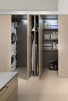 Cool 35 Chic Hidden Laundry Room Designs Ideas To Try Asap. Modern Laundry Rooms, Laundry Room Layouts, Laundry Room Doors, Laundry Room Organization, Organization Ideas, Laundry Storage, Storage Ideas, Interior Pocket Doors, Hidden Laundry